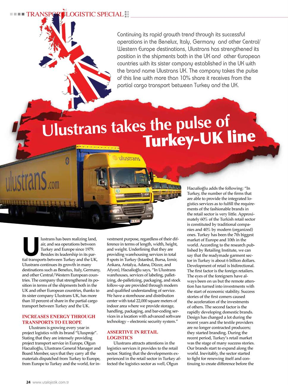 Ulustrans takes the pulse of Turkey-UK Line